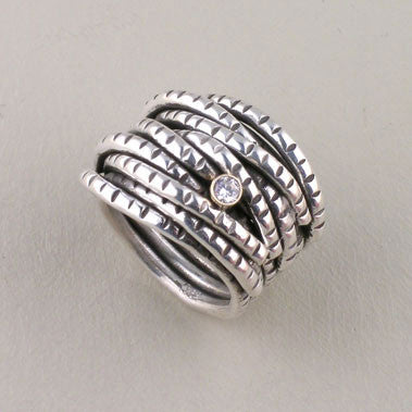 6 Band Entwined Diamond Ring  (R215d) - DanaReedDesigns