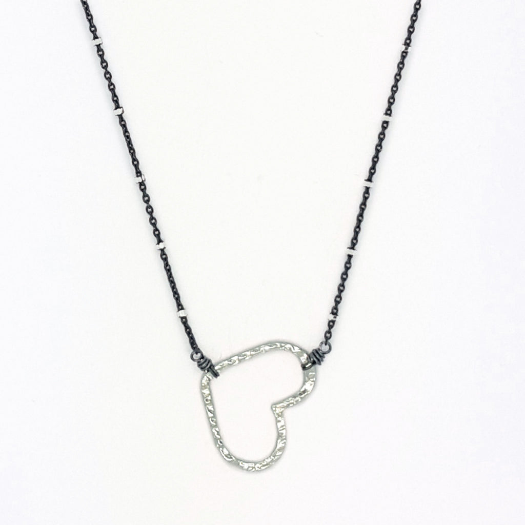 Textured Heart Necklace (N1107)