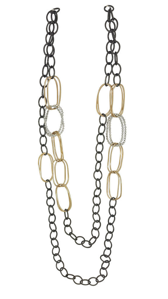 Long Polished & Bead Ovals Necklace (N1545)