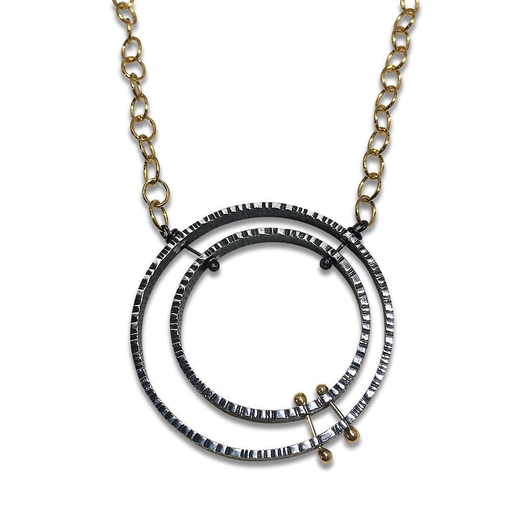 Double Lined Circles with 14K Pegs Necklace (N1559)