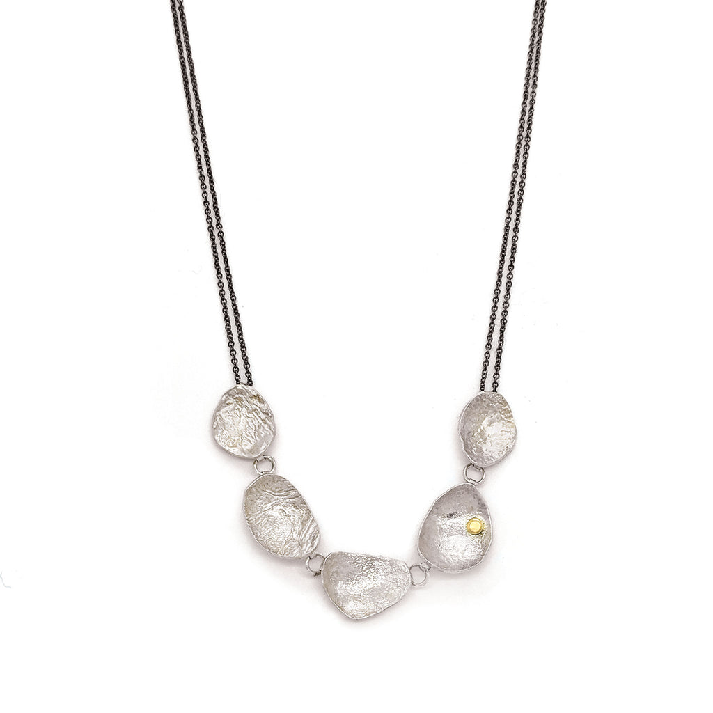 Linked Sterling Silver Pod Necklace N1715KSO - DanaReedDesigns