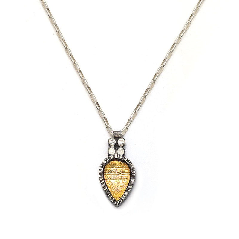 Bi-Metal Teardrop Bezel Necklace (N1784) - DanaReedDesigns