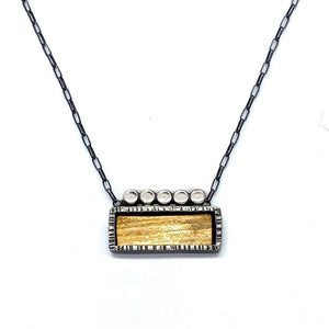 Bi-Metal Rectangle Bezel Necklace (N1785) - DanaReedDesigns