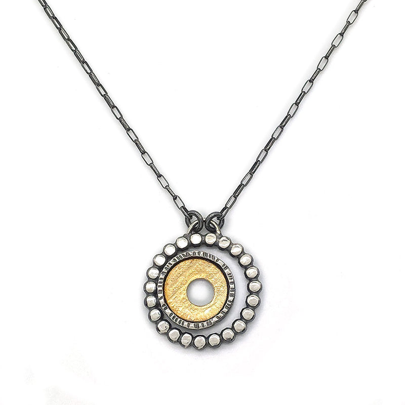 Bi-Metal Small Circle Bezel Necklace (N1786) - DanaReedDesigns