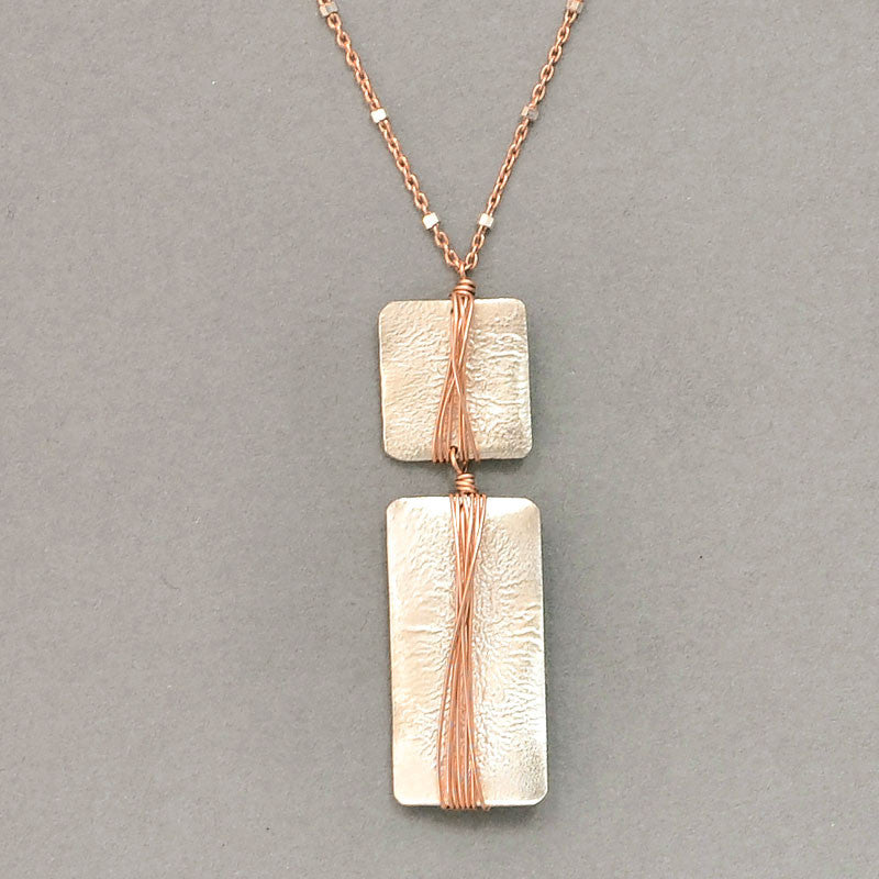 Funky Rectangle and Square Necklace  (N584MR) - DanaReedDesigns