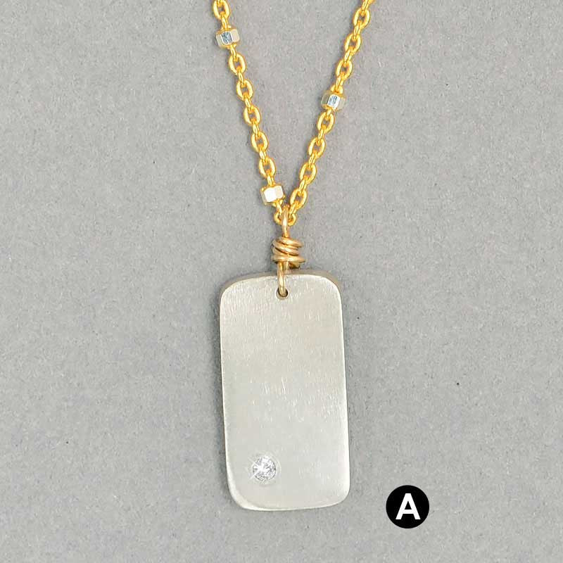 Diamond Dogtag Necklace  (N116) - DanaReedDesigns