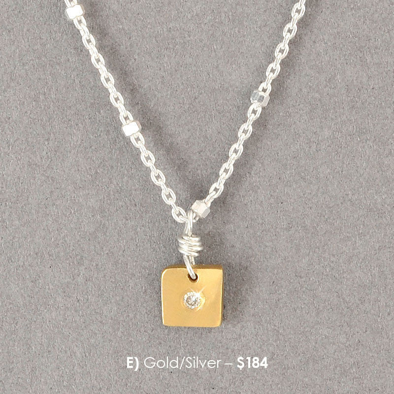 Square Nugget Diamond Necklace  (N166) - DanaReedDesigns
