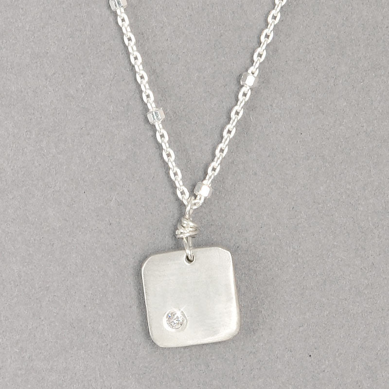 Diamond Dogtag Necklace  (N115Sd) - DanaReedDesigns
