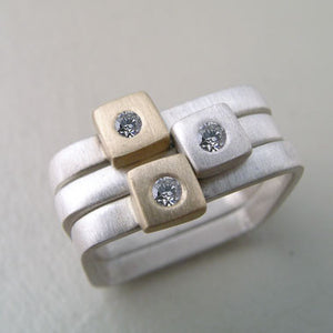 Diamond Square Stacking Rings  (R307) - DanaReedDesigns