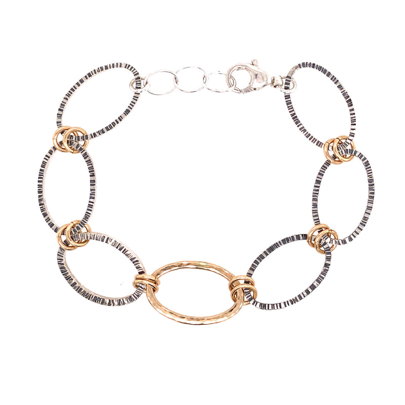 Linked Lined Ovals Bracelet (B375) - DanaReedDesigns