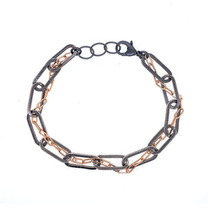 Entwined Chain Thru Oval Link Chain Bracelet (B377)