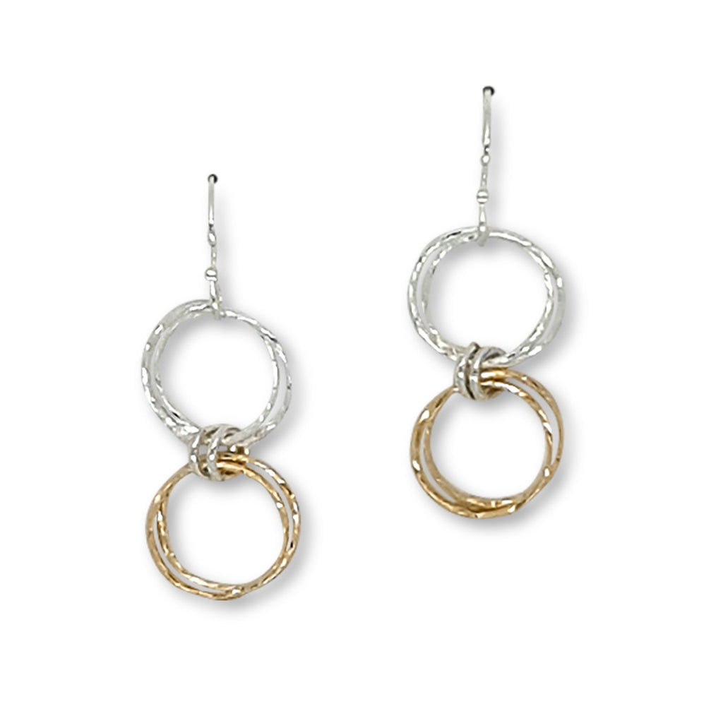Double Diamond-Cut Hoop Earrings (E1342) - DanaReedDesigns