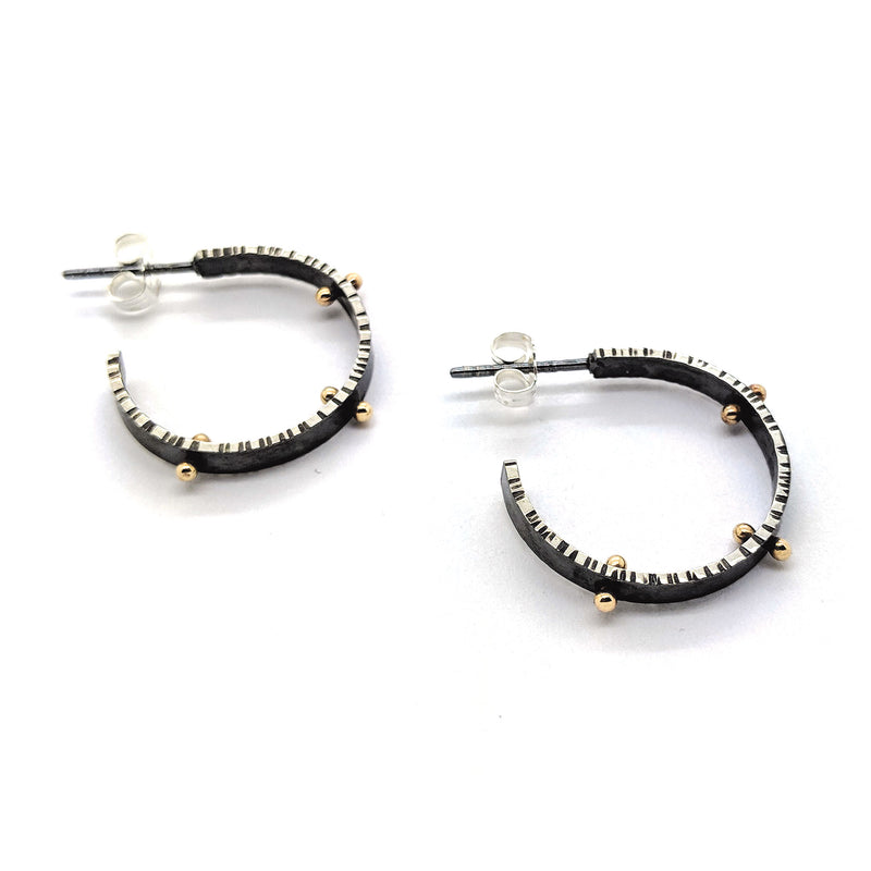 Small Front Facing Lined Hoop Earrings with 14K pegs E1633 - DanaReedDesigns