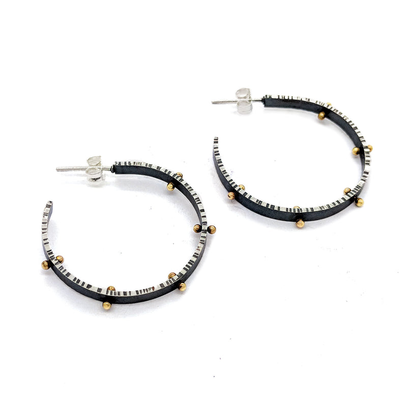 Medium Front Facing Lined Hoop Earrings with 14K pegs E1634 - DanaReedDesigns