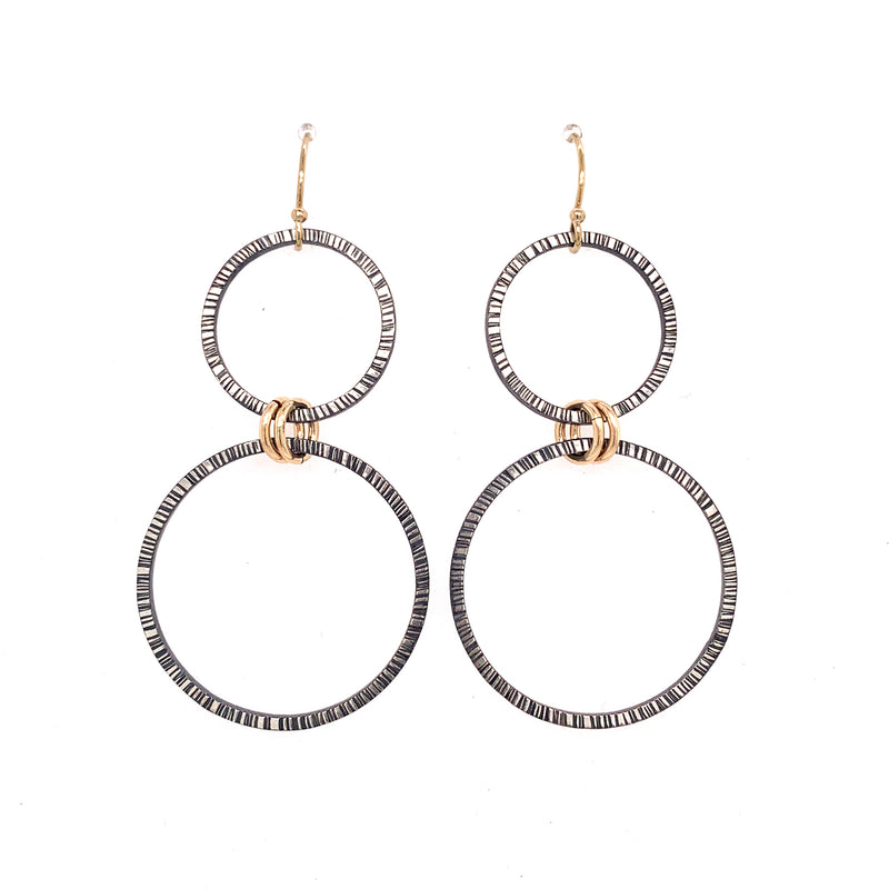 Large Lined Harmony Hoops Earrings (E1768) - DanaReedDesigns