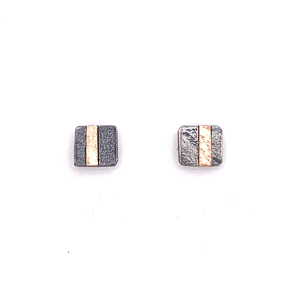 18k Inlay Square Post Earrings  (E1775) - DanaReedDesigns