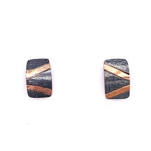 18k Inlay Rectangle Post Earrings (E1776) - DanaReedDesigns