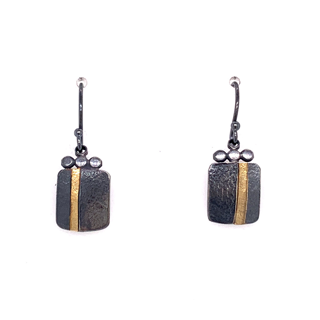 18k Inlay Square Dangle Earrings (E1777) - DanaReedDesigns