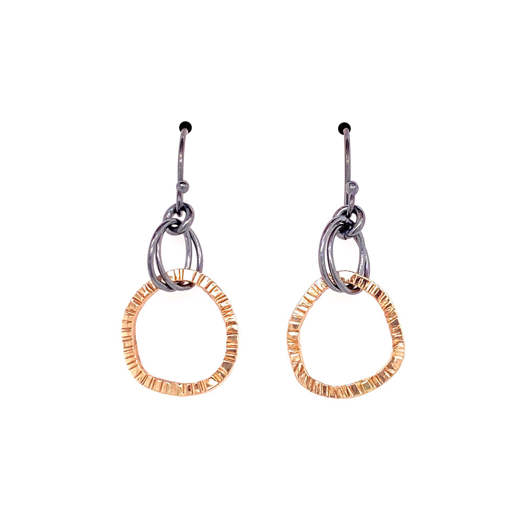 Small Double Lined Organic Circle Earrings (E1792)