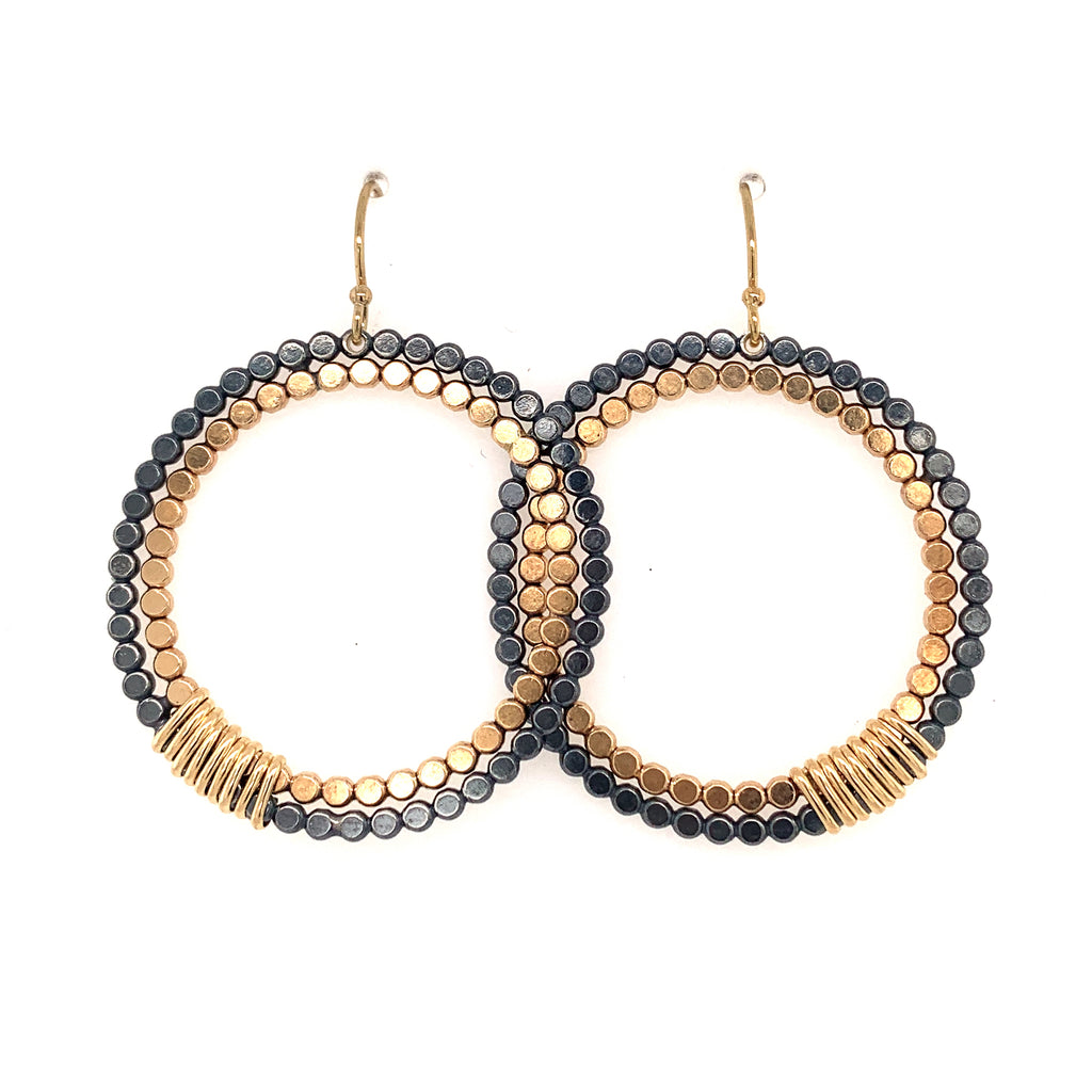 Large Signature Double Beaded Circles (E1795) - DanaReedDesigns