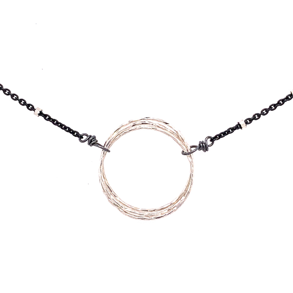 Large Diamond Cut Friendship Circle Necklace (N1635) - DanaReedDesigns