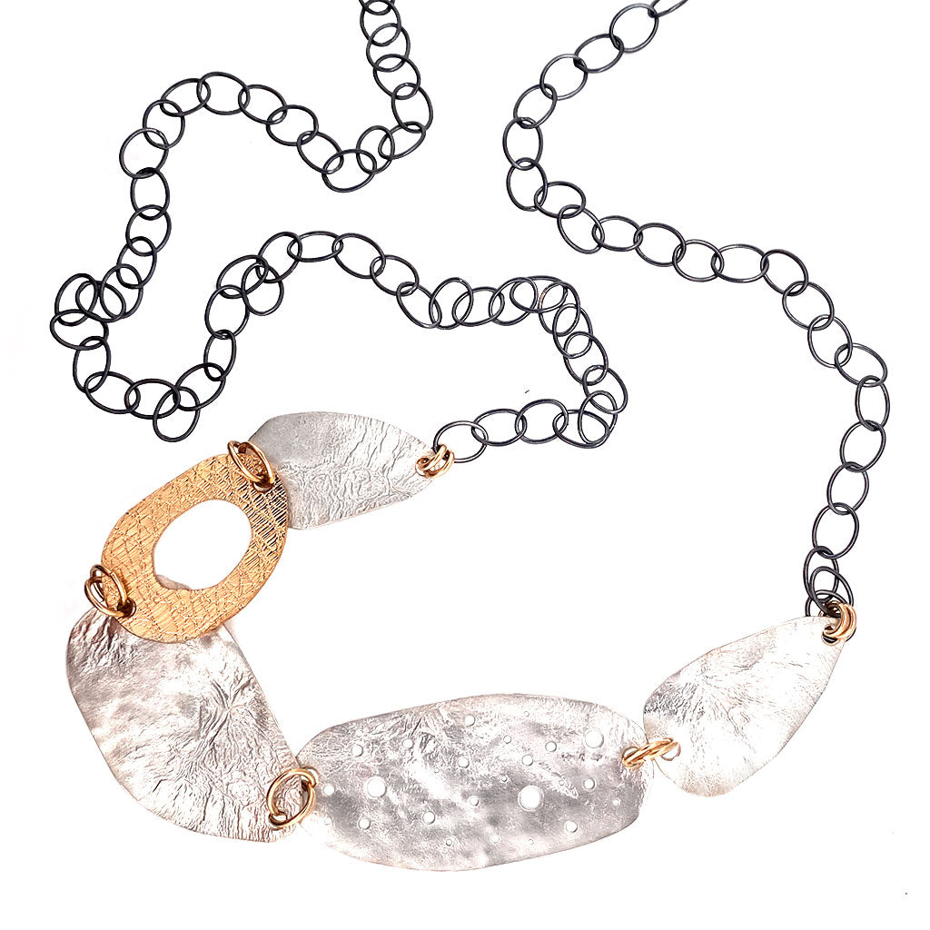Long Reticulated Organic Ovals Necklace (N1826)