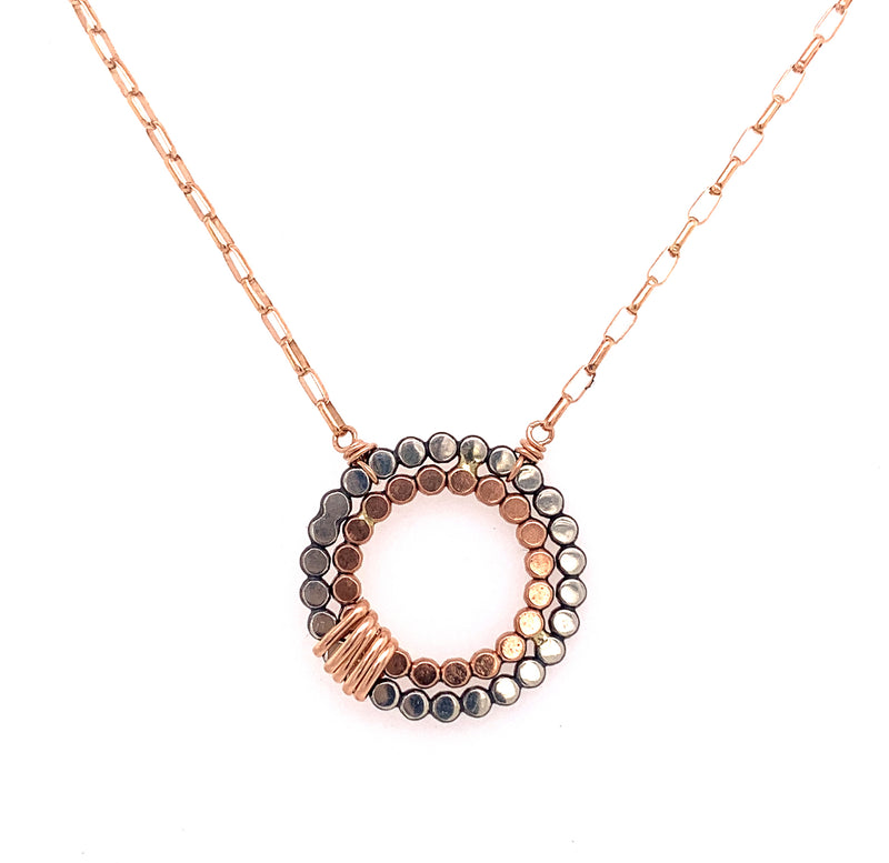 Signature Small Double Beaded Circle Necklace (N1893) - DanaReedDesigns