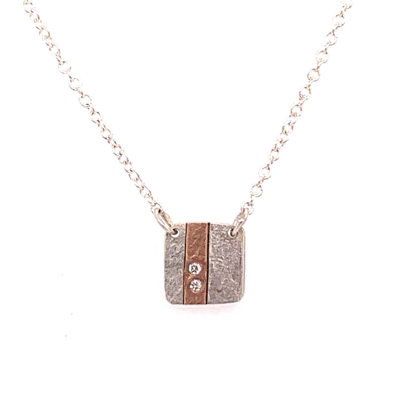 Perfect Pair Necklace 18k Inlay square w/2 diamonds (N1897) - DanaReedDesigns