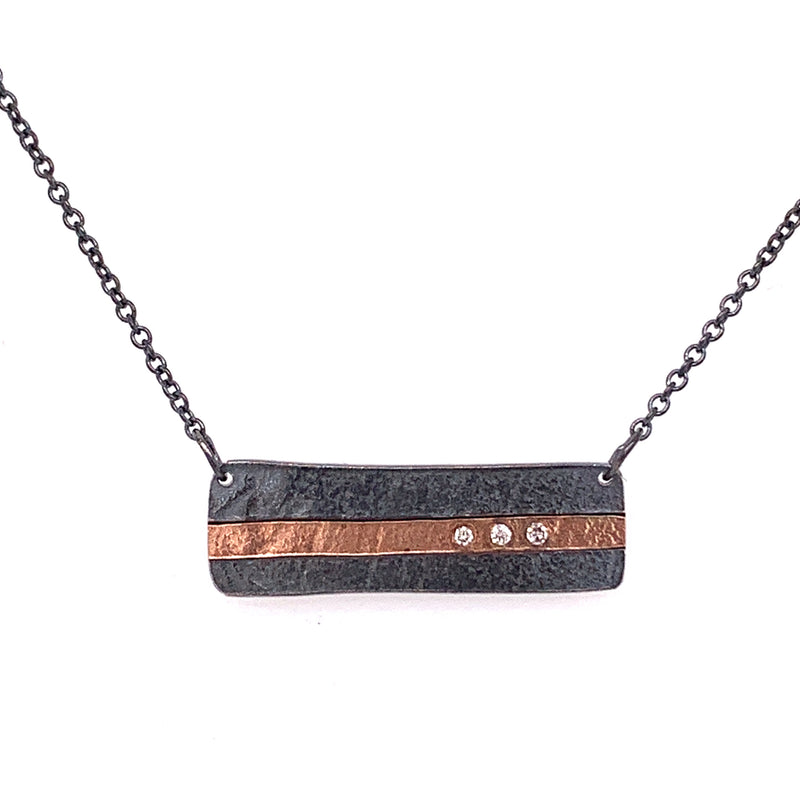 Grace Necklace 18k rectangle inlay with diamonds (N1898) - DanaReedDesigns