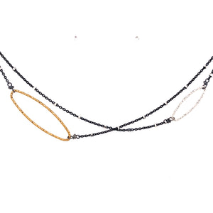 Diamond Cut Ovals Off Center Necklace (N1900) - DanaReedDesigns