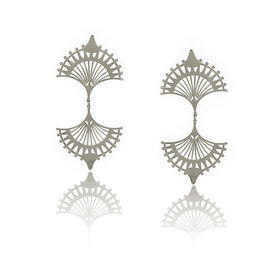 DOUBLE CENTRAL Silver earrings