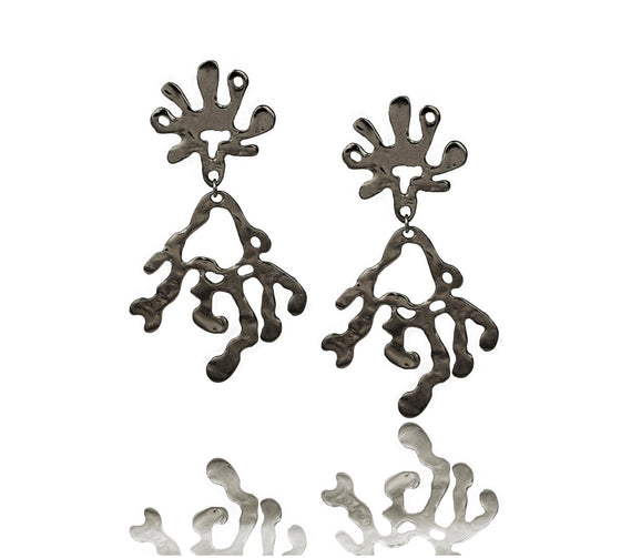 UGANDA Rhodium earrings