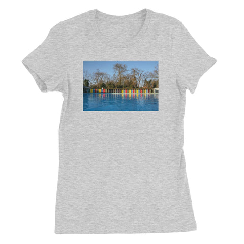 TOOTING BEC LIDO WITH TREES Women's Fitted T-Shirt - Amy Adams Photography