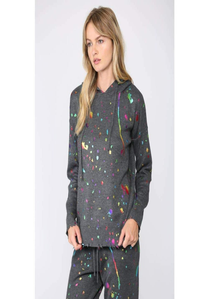 Paint Splatter Hooded Sweater, Shop Raleigh Bird