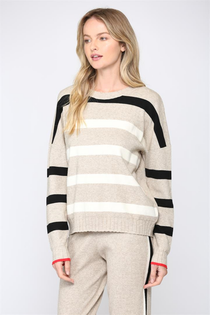 Ribbed Neck Stripe Sweater, Raleigh Bird