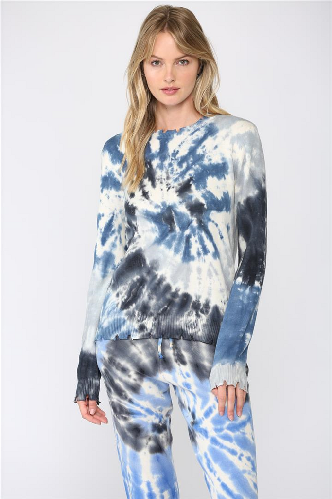 Tie-Dye Distressed Sweater, Raleigh Bird