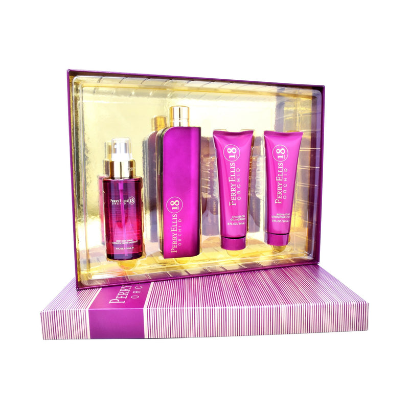 Set  Perry Ellis 18 Orchid 4Pzs 100ml EDP Spray/ Body Lotion 90ml/ Shower Gel 90ml/ Body Mist 118ml Spray