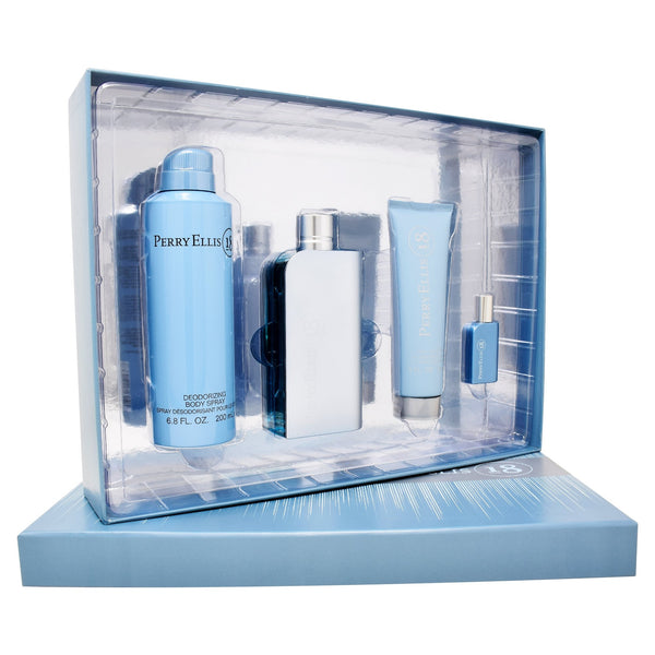 Set  Perry Ellis 18 4Pzs 100ml EDT Spray/ Shower Gel 90ml/ Desodorante 200ml Spray/ 7.5ml EDT Spray