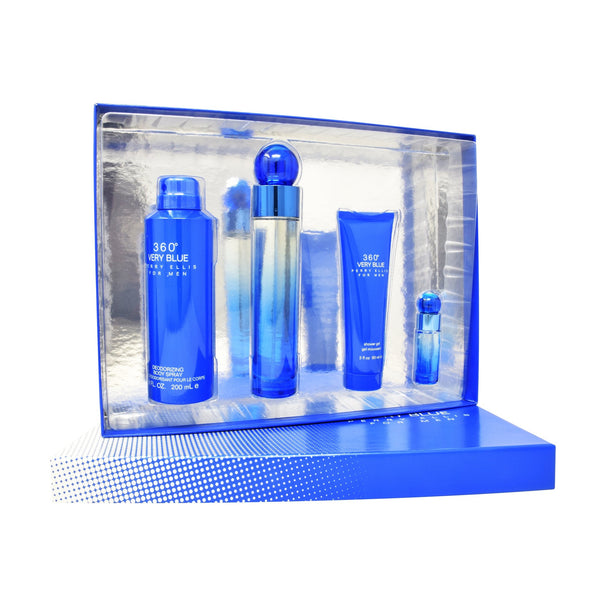 Set Perry Ellis 360° Very Blue 4Pzs 100ml EDT Spray/ Shower Gel 90ml/ Desodorante 200ml Spray/ 7.5ml EDT Spray