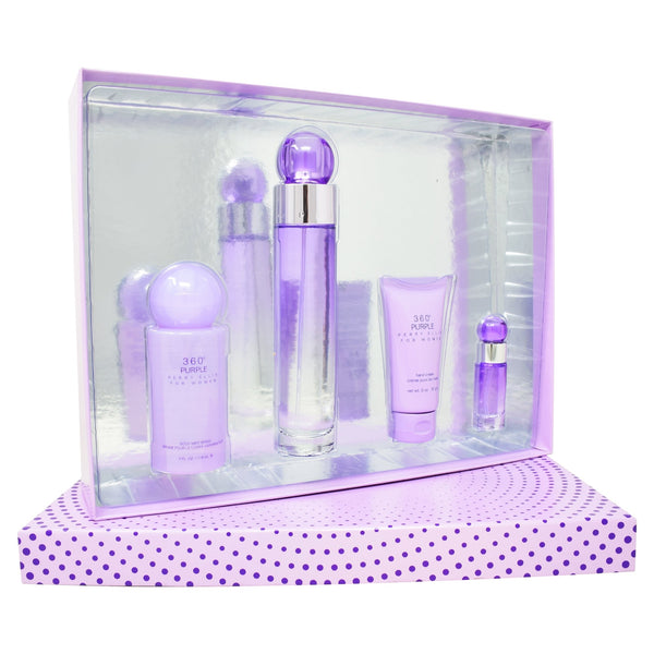 Set Perry Ellis 360° Purple 4Pzs 100ml EDP Spray/ Crema Para Las Manos 57G/ Body Mist 118ml Spray/ 7.5ml EDP Spray