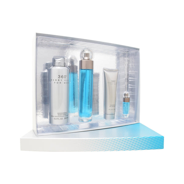 Set Perry Ellis 360° 4Pzs 100ml EDT Spray/ Shower Gel 90ml/ Body Mist 118ml Spray/ 7.5ml EDT Spray