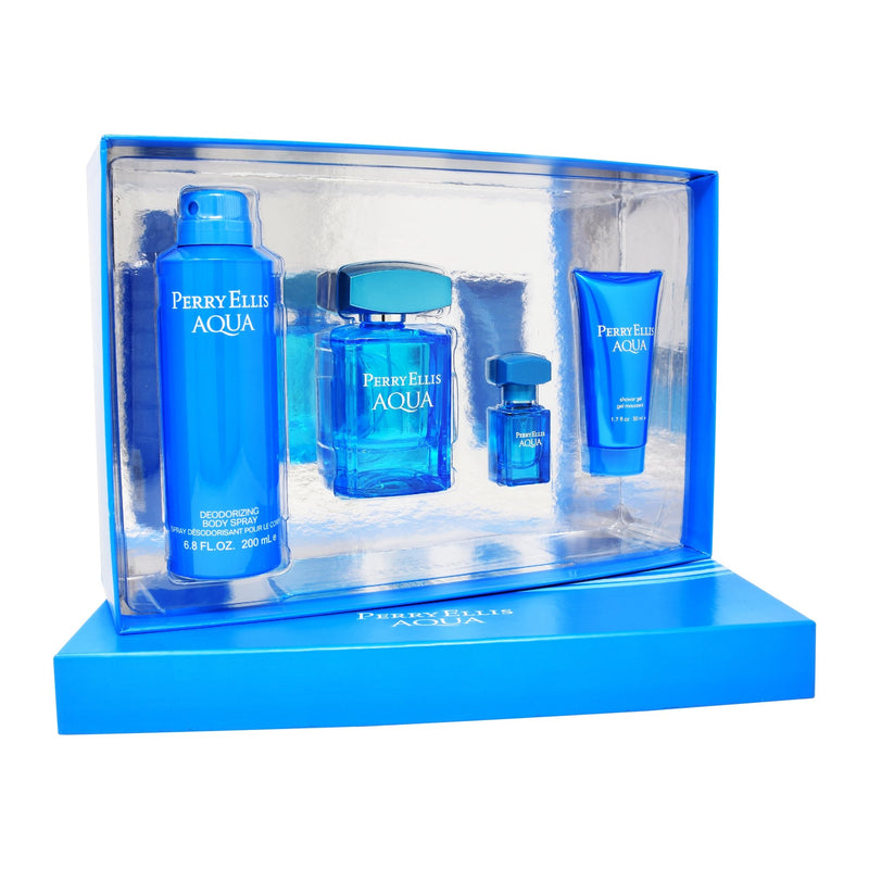 Set  Perry Ellis Aqua 4Pzs 100ml EDT Spray/ Shower Gel 50ml/ Desodorante 200ml Spray/ 7.5ml EDT Spray