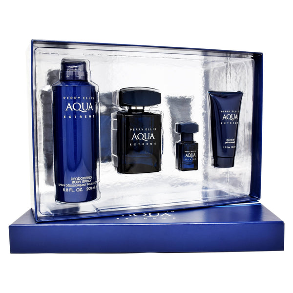 Set  Perry Ellis Aqua Extreme 4Pzs 100ml EDT Spray/ Shower Gel 50ml/ Desodorante 200ml Spray/ 7.5ml EDT Spray
