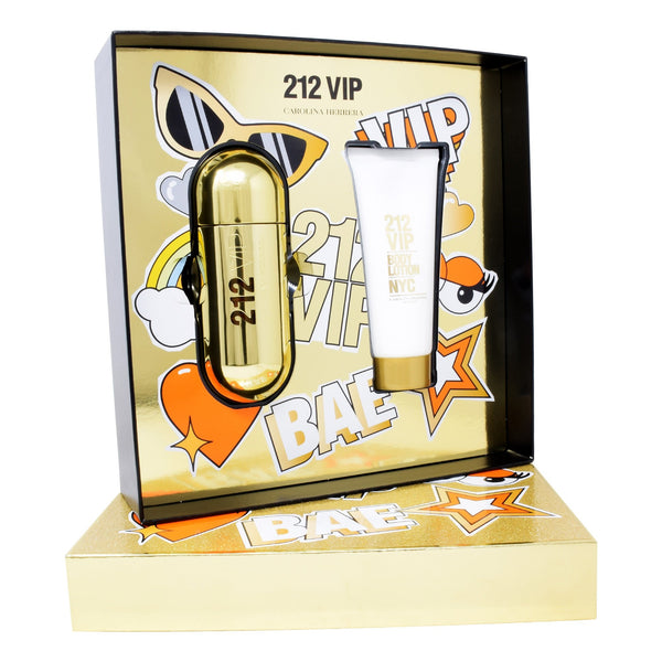 Set Carolina Herrera con 2 Piezas: 212 VIP 80ml EDP Spray y Body Lotion 100ml con Envío Gratis