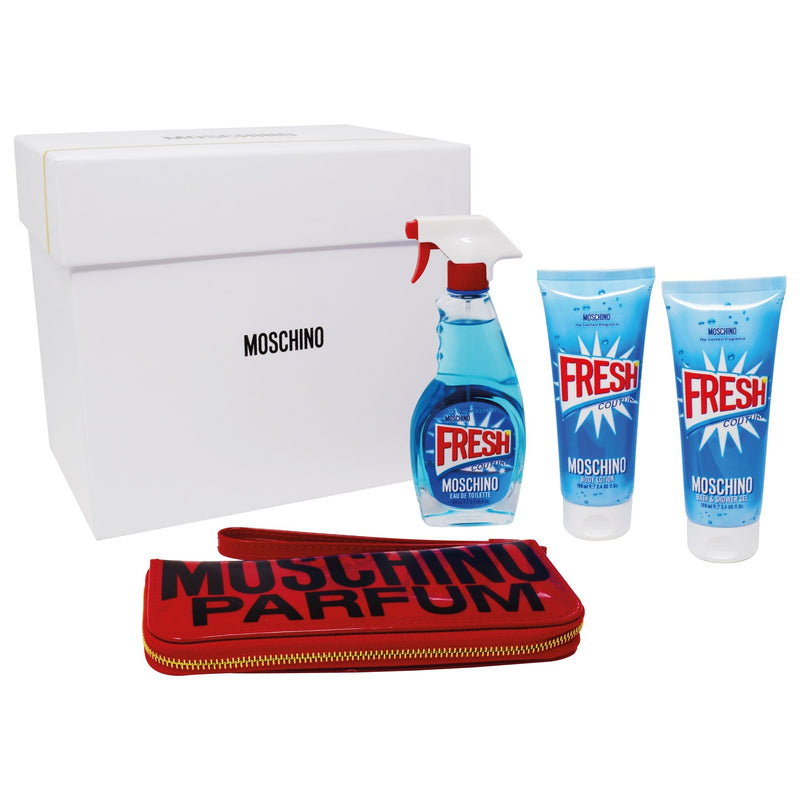 Set  Moschino Fresh Couture 4Pzs 100ml EDT Spray/ Shower Gel 100ml/ Body Lotion 100ml/ Manicure