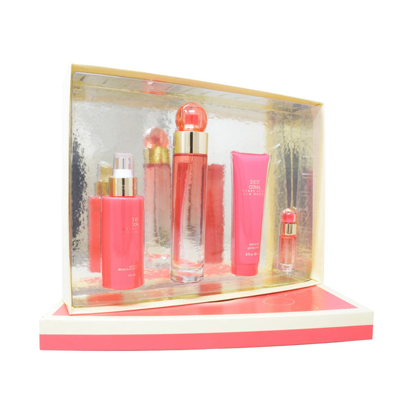 Set Perry Ellis 360° Coral 4Pzs 100ml EDP Spray/ Shower 90ml/ Body Mist 118ml Spray/ 7.5ml EDP Spray