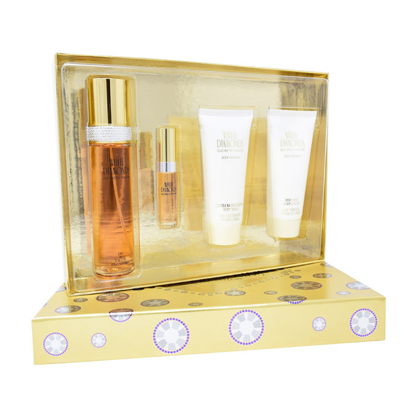 Set Elizabeth Taylor White Diamonds 4Pzs 100ml EDT Spray/ Shower Gel 100ml/ Body Lotion 100ml/ 10ml EDT Spray