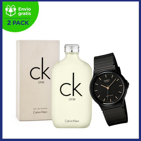 2 Pack CK One 100 ml EDT Spray y Reloj Casio Vintage Clásico Modelo MQ241E