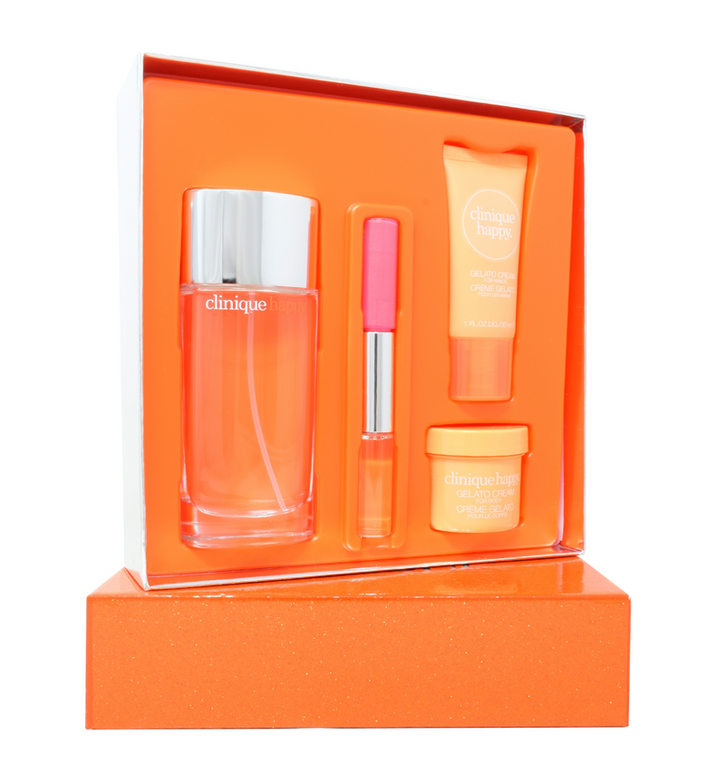 Clinique Absolutely Happy Pack para Dama 4 Piezas: 1)100ml Eau de Parfum EDP Spray, 2)Crema para manos 30 ml, 3)Crema Corporal 60 ml, 4) Lip Gloss 4.1 ml