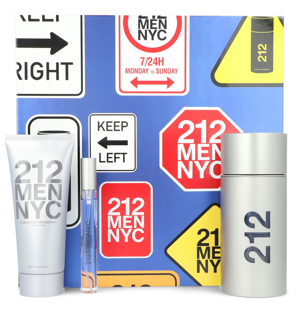 Set de Regalo con 3 Piezas  212 Men 100 ml EDT Carolina Herrera